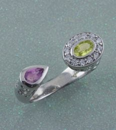 Silver Abha Ring in Peridot and Amethyst by fourseven