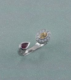 Abha Ring in Golden Topaz and Garnet by fourseven