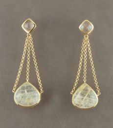 Araiya Raindrop Earrings in Gold with Rutile Quartz