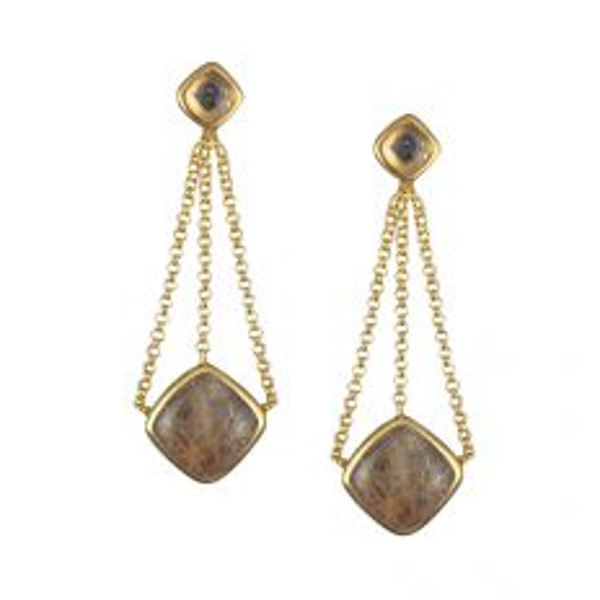 Araiya Earrings in Gold with Rutile Quartz