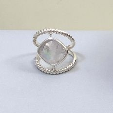 Araiya Ring in Rainbow Moonstone