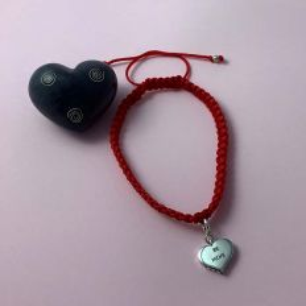 Be Mine Adjustable Valentine Bracelet Silver