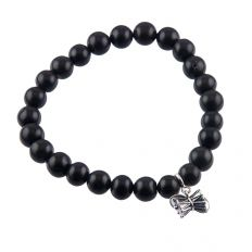 Damru Charm With Black Spinel Bead Bracelet by fourseven