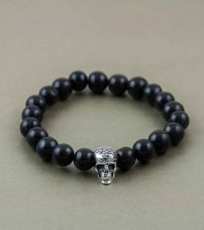 Afterlife Skull Bead Bracelet in Black Agate by fourseve