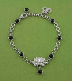 Black Spinel Lotus Charm Bracelet by fourseven