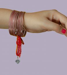 Silver Lumba Moli Rakhi with Blue Lotus Charm by Fourseven