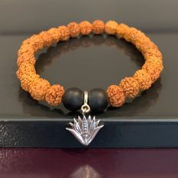 Simplicity Rudraksh Rakhi Bracelet with Silver Blue Lotus Charm