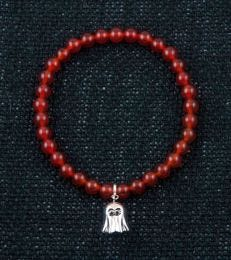 Boo! Charm with Red Onyx Bead Bracelet