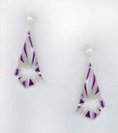 Breakthrough Post Dangler Earrings in Purple