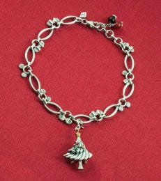 Disney Mickey Minnie Marquis Charm Bracelet with Oh Christmas Tree! Charm
