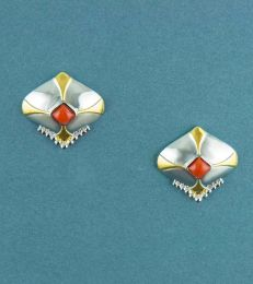 Coral Accents Shield Stud Earrings by fourseven