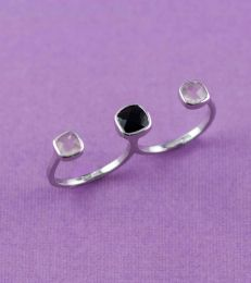 Deco Twin Finger Ring in Rose Quartz and Black Onyx with fourseven