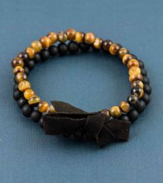 fourseven Double Layer Bracelet in Tiger's Eye with Black Glass Beads