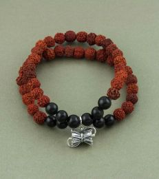 Rudraksh Bracelet with Large Damru Charm by fourseven