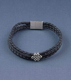 Eternity Knot Story Bead with Triple Layer Faux Leather Magnetic Clasp Bracelet
