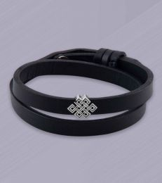 Eternity Knot Story Bead Faux Leather Band Bracelet