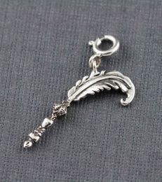 Enchanted Quill Feather Pen Charm