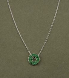 Floating Heart Pendant in Kelly Green with medium Box Chain by fourseven