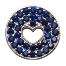 Floating Heart Pendant in Midnight Blue-front