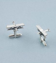 Flying High Biplane Cufflinks in Silver