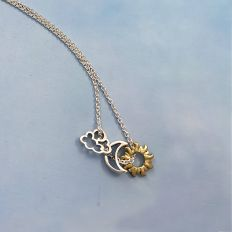 Celestial Silver Pendants with Chain
