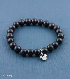 Black Agate Bead Bracelet with Fun with Mickey Mouse Charm