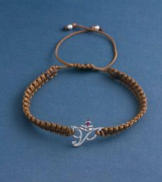 Simply Charming Braided Bracelet In Brown With Ganesha Pendant
