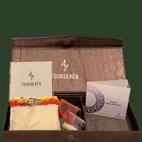 Silver Tarkash Brooch Moli Rakhi Gift Set
