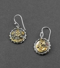 Gold-Plated Silver Lakshmi & Ganesh Ji Dangler Earrings by fourseven