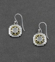 Gold-Plated Silver Shri Yantra Dangler Earrings by fourseven