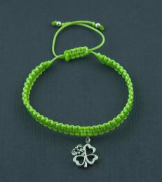 Simply Charming Friendship Bracelet In Parrot Green With Good Luck Clover Charm by fourseven