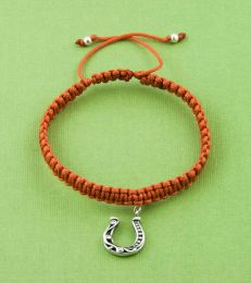 Simply Charming Friendship Bracelet In Rust With Good Luck Horseshoe Charm by fourseven