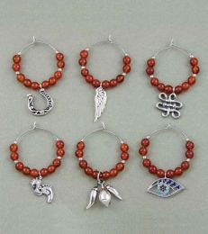 fourseven Good Luck Wine Charms Set in Red Onyx