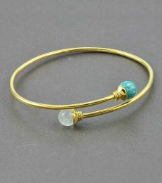 Gratia Golden Elegance Bangle in Turquoise and Moonstone by fourseven