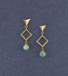 Gratia Golden Geo Elegance Earrings in Peridot by fourseven