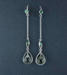 Green Amethyst Faceted Drop Dangler Earrings by fourseven
