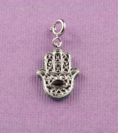 Hamsa Charm with Black Onyx