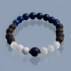 Happy Blues Silver and Gemstone Bead Bracelet by Fourseven