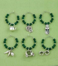 Indian Masala Wine Charms Set in Green Onyx by fourseven