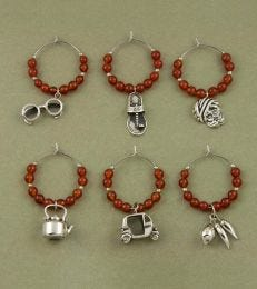 Indian Masala Wine Charms Set in Red Onyx by fourseven