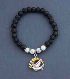 Peace Dove Charm with Keep Calm & Carry On Howlite & Lava Bead Bracelet