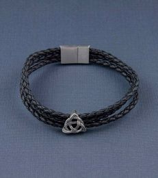 Knot of Protection Story Bead with Triple Layer Faux Leather Magnetic Clasp Bracelet- Black