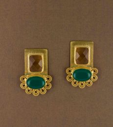 Lace Earrings in Yellow Chalcedony and Green Onyx