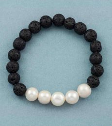 Lava Bead Bracelet in Pearl-White