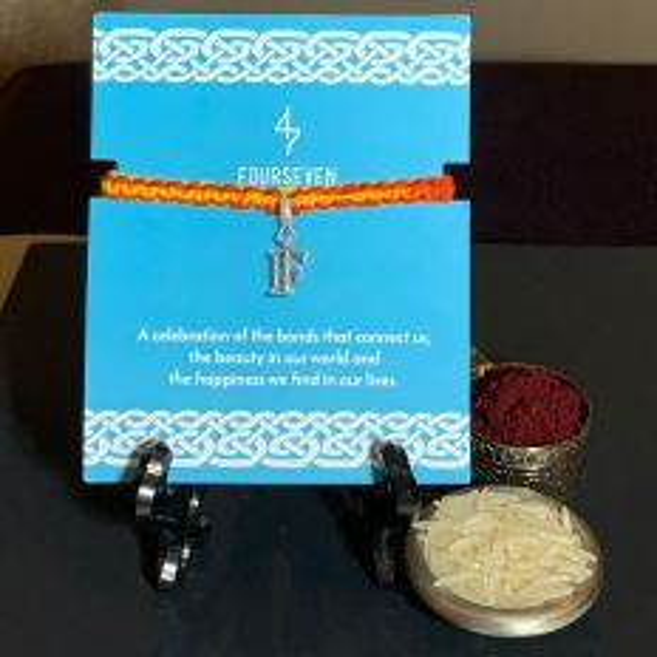 Silver Letter F Charm Simplicity Moli Rakhi Bracelet