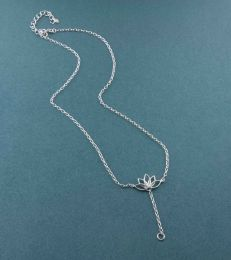 Lotus Charm Necklace in Sterling Silver full view