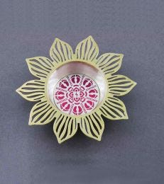 Lotus Tealight Holder with Pink Disc by fourseven