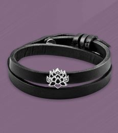Lotus of Enlightenment Story Bead Faux Leather Band Bracelet