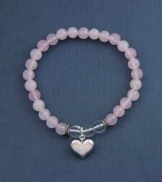 Loving Heart Charm with Love is Love Rose Quartz and Crystal Quartz Bead Bracelet