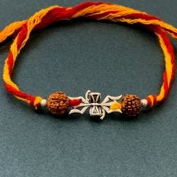 Mahakal Silver Pendant with Rudraksha Moli Rakhi Bracelet by Fourseven